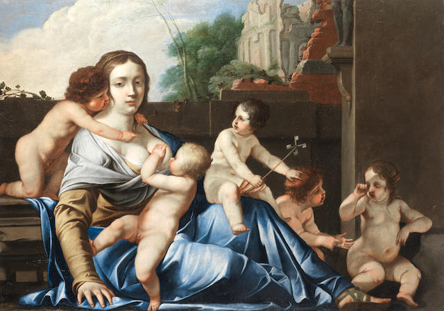 Circle of Jacques Blanchard (Paris 1600-1638) An Allegory of Charity unframed