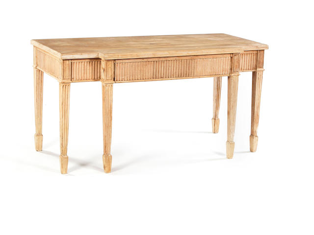 A stripped pine breakfront serving table, in the manner of Adam