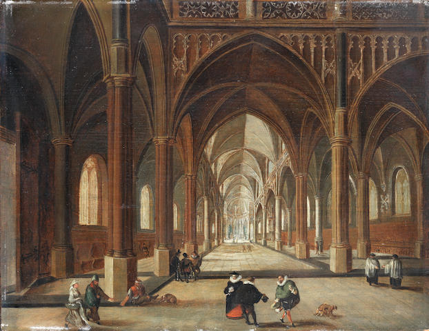Circle of Nicolaes de Giselaer (Dordrecht 1583-circa 1654) A church interior with elegant figures in the foreground