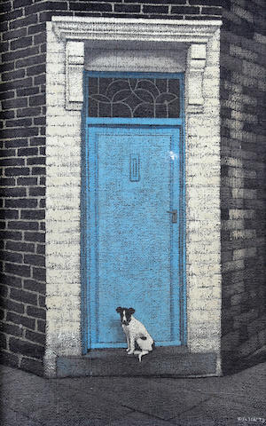 Stuart Walton (British, born Leeds 1934) Jack Russell Terrier in Doorway