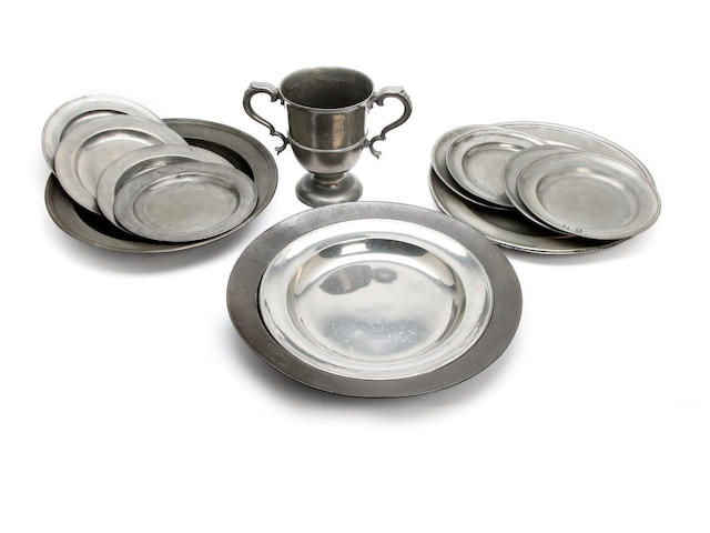 A miscallaneous collection of pewter