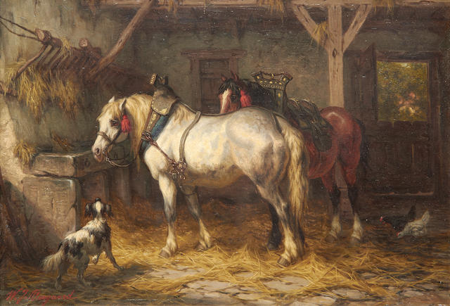 Willem Jacobus Boogaard (Dutch, 1842-1887) Horses in a stable