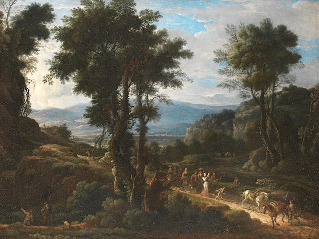 Circle of Pandolfo Reschi (Danzig 1643-1699 Florence) An Italianate landscape with huntsmen