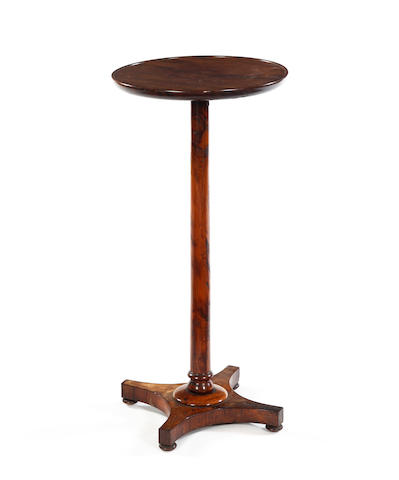 A rosewood and yew-veneered pedetsal occasional table