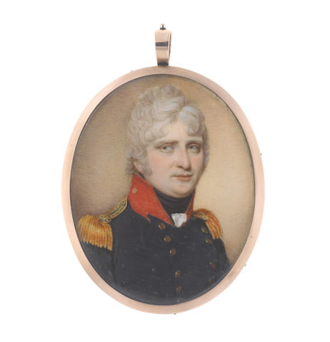 Henry Jacob Burch (British, born 1763) An Officer, wearing dark blue double-breasted coat with red standing collar, gold epaulettes, white frilled chemise and black stock