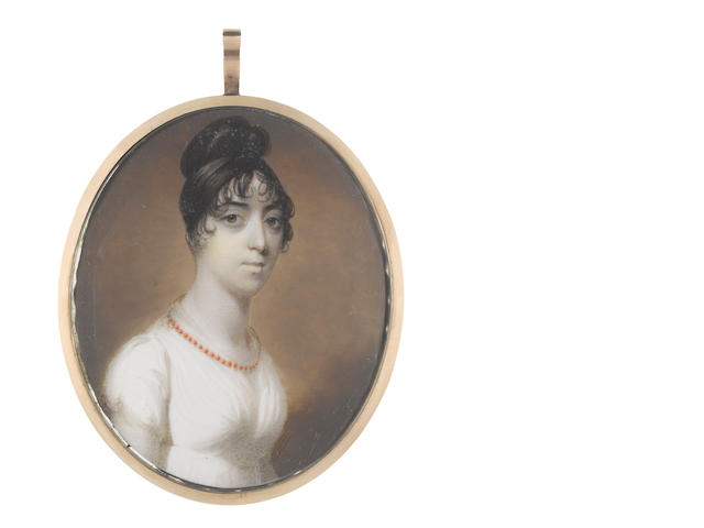 John Thomas Barber Beaumont, FSA, FGS (British, 1774-1841) A Lady, wearing white dress and fichu, coral necklace, her dark hair curled and upswept high on top of her head