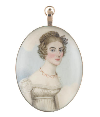 Frederick Buck (Irish, 1771-circa 1840) A Lady, wearing white dress with capped sleeves and lace trim to her décolleté, tiered coral necklace and pendant earring, her hair upswept, plaited and curled in ringlets framing her face