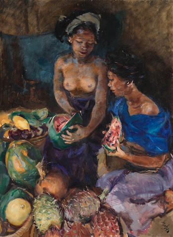 Roland Strasser (Austrian, 1895-1974) Enjoying Fruits