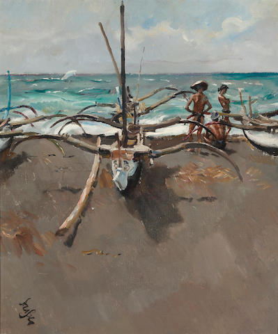Roland Strasser (Austrian, 1895-1974) Fishermen at the Beach