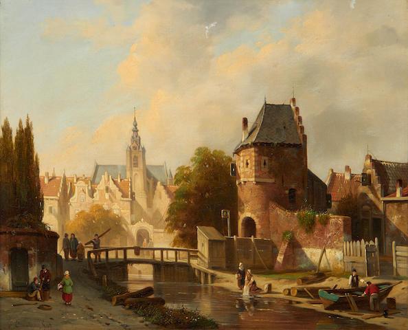 Jacques François Carabain (Belgian, 1834-1933) Town scene, Belgium 35 x 41 cm