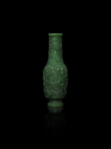 A spinach-green jade vase 19th century
