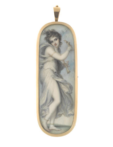 Richard Cosway R.A. (British, 1742-1821) A rare portrait miniature of the Muse Thalia, goddess of comedy and pastoral poetry, wearing white Classical robes fastened with pearls at her upper right thigh, gold armlet and pearl bracelet on her right arm, gold ankle bracelets, her brown hair loosely curled and upswept, she holds a pipe in her left hand and the mask of Comedy raised aloft in her right