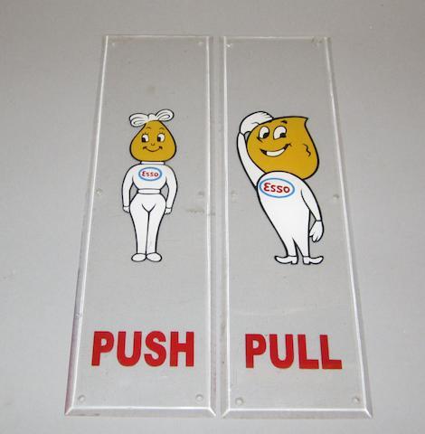 A pair of Esso decorative door plates,