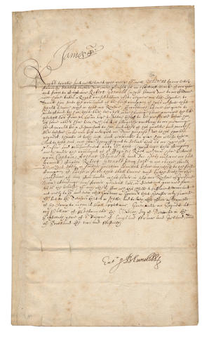 "JAMES I. Letter signed (""James R"" at head), to Sir Oliver St John, Lord Deputy of Ireland, [1618]"