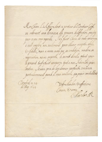 "CHARLES I. Letter signed (""Charles R""), to ""Mon Cousin"", CHARLES I BESIEGED IN OXFORD DESPATCHES A SECRET AGENT TO THE CONTINENT, 1644"