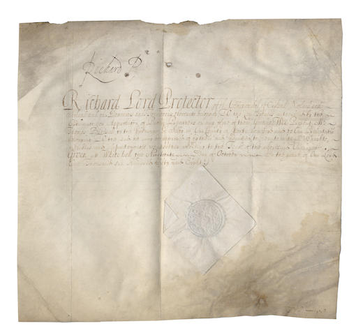 "CROMWELL (RICHARD) Document signed (""Richard P"" at head), as ""Lord Protector of the Commonwealth"", 1658"