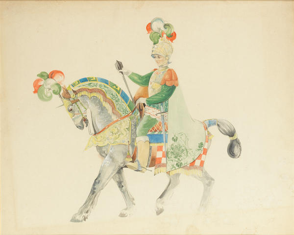 Peggy Davies 'The Palio' a Rare Design Watercolour and Drypoint for HN 2428, circa 1970