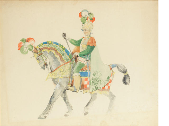 Peggy Davies  'The Palio' a Rare Design Watercolour for HN 2428, circa 1970