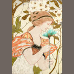 Leon Solon for Minton a Rare Art Nouveau Tile Panel Depicting a Maiden, circa 1900