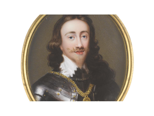John Plott (British, 1722-1803), after Sir Anthony van Dyck A rare portrait miniature by the artist portraying Charles I (1600-1649), King of England, Scotland and Ireland (1625-1649), wearing breast plate and studded pauldrons, gold collar with badge of the Order of the Garter, white chemise with van Dyke collar, his loosely curling hair falling to his shoulders