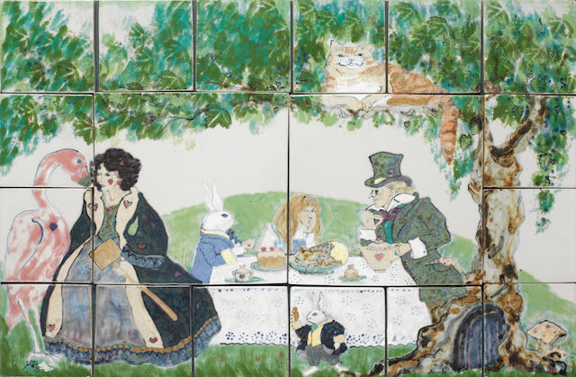 European 'The Mad Hatter's Tea Party' a Painted Tile Panel, 20th Century