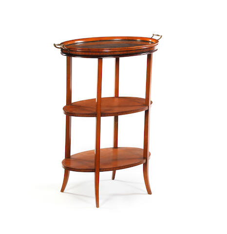 An Edwardian satinwood and inlaid three-tier etagere, with tray top