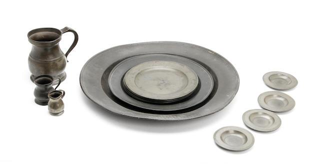 A set of six 18th century plain rim pewter plates