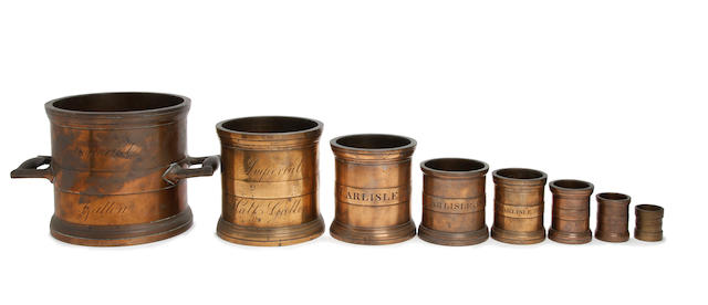 A set of eight George IV bronze alloy Imperial measures, for Carlisle, dated 1826
