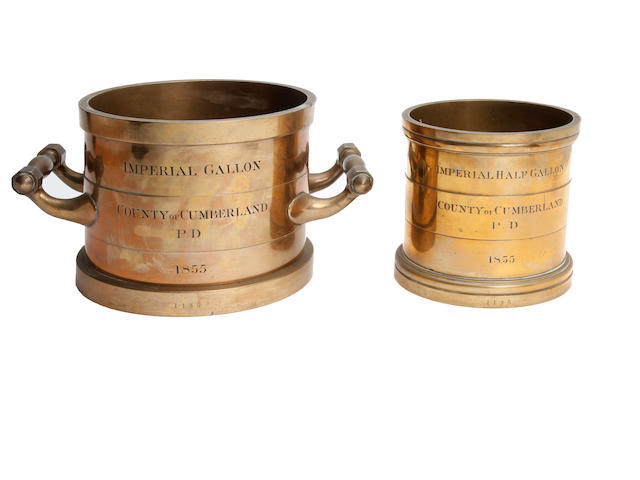 Two early Victorian brass alloy Imperial measures for the County of Cumberland P.D. (probably Penrith District), dated 1855Unmarked but attributed to De Grave, Short & Fanner, London