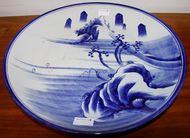 A large late 19th Century Japanese blue and white charger,