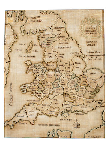 A George III needlework map of England and Wales