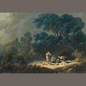 Jean-Baptiste Pillement (Lyons 1728-1808) A landscape with shepherds and sheep resting in a woodland clearing