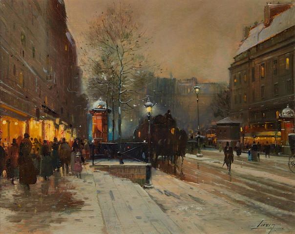 Eugène Galien-Laloue (French, 1854-1941) Paris street scene