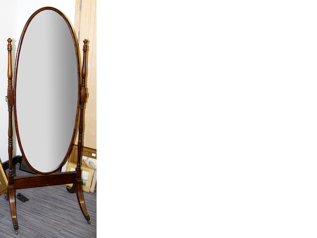 A mahogany Cheval mirror early 20th Century