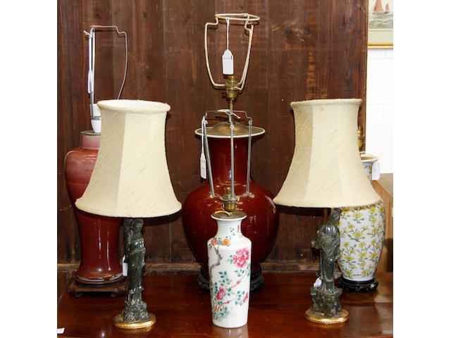 Collective table lamps,comprising two Chinese Sang De Boef, two soapstone and two others (6)