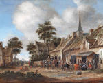 Thomas Heeremans (Haarlem 1640-1697) Peasants drinking before a country inn; and   (2)