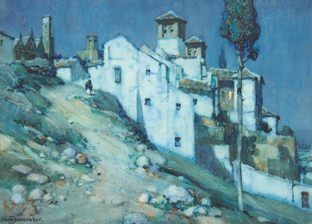 Albert Moulton Foweraker R.B.A. (British, 1873-1942) View of a Spanish village, a pair