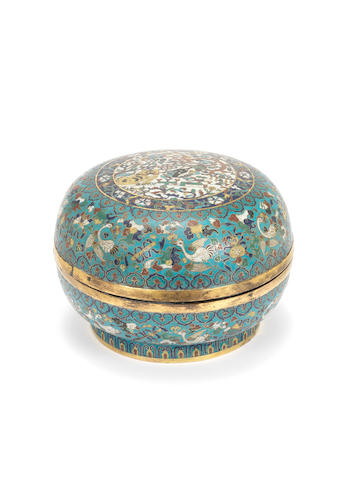 A cloisonné enamel 'dragon and tiger' circular box and cover 18th century