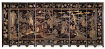 An extremely rare and fine large Coromandel dated twelve-panel screen Carved Kangxi cyclical date geng shen corresponding to AD1680 and of the period
