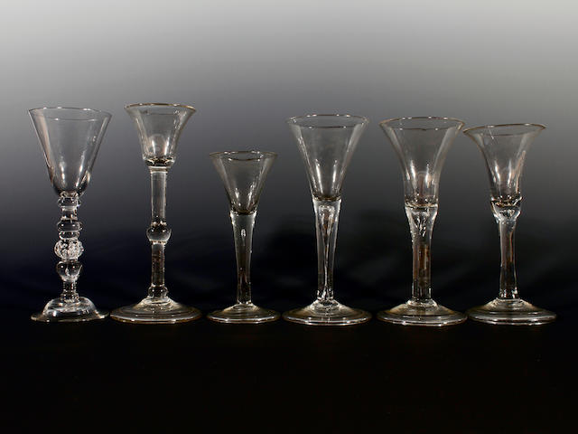 Six plain stem wine glasses, 18th century
