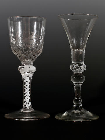 Two wine glasses, 18th century