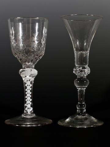 Two wine glasses, 18th century