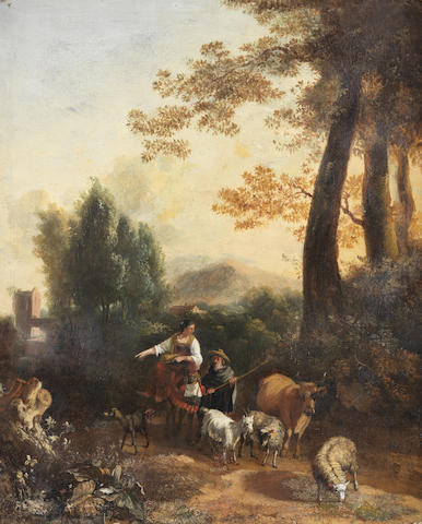 Circle of Abraham Jansz. Begeyn (Leiden 1637-1697 Berlin) A shepherd and shepherdess with their live