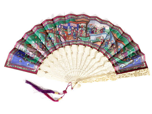 A Cantonese fan with ivory sticks and a paper leaf, late 19th century