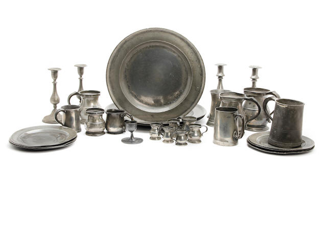 A miscallaneous group of pewter