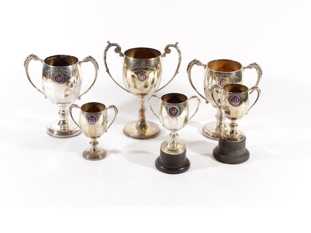 Six silver trophy cups dates ranging from Birmingham 1933-4,  (6)