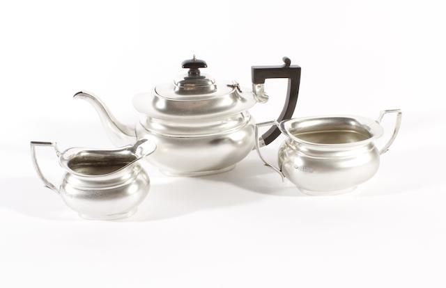 A three piece silver tea set Birmingham 1931  (3)
