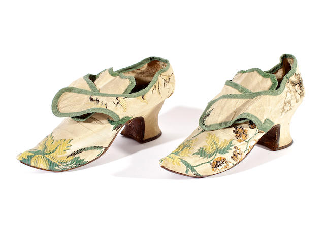 A pair of circa 1720-40 silk brocade shoes