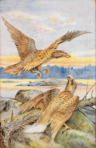 Florence Barlow for Doulton Lambeth a Rare Painted Panel with Eagles, circa 1890