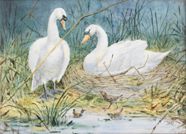 Florence Barlow for Doulton Lambeth a Charming Painted Panel with Swans and Marsh Birds, circa 1890